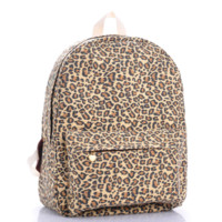 Leopard Printed Canvas Backpack College School Bag Travel Daypack