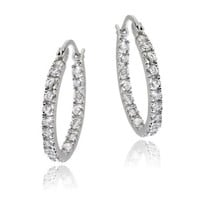 Sterling Silver 18mm Inside Out CZ Hoop Earrings