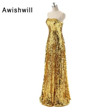 Custom Plus Size Bling Bling Golden Sequin Prom Dress Strapless Floor-length Long Vestidos de Fiesta Party Dresses Fast Shipping