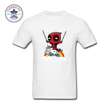 Fashion Summer Style Deadpool Minion Riding A Unicorn Rainbow Cotton Funny T Shirt for men
