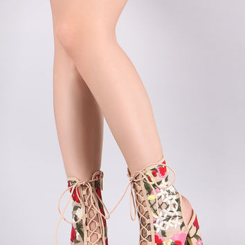 Liliana Floral Embroidery Mesh Lace Up Chunky Heeled Booties | UrbanOG