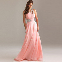Sexy BEADED Chiffon Long Formal Prom Party Ball Cocktail Evening Dress Pink us 2