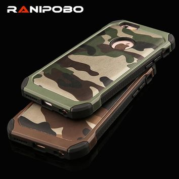 PC Hard + Soft TPU Armor protective phone cases for iPhone 4 4S 5 5S 6 6S 7 plus Camouflage Army Camo Pattern case back cover