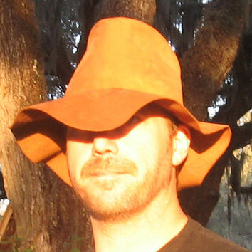 Handmade Leather Hillbilly Hat - Oil Tanned Leather - Floppy Fedora