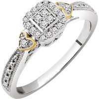 10K White & Yellow 1-6 CTW Diamond Promise Ring