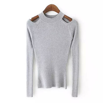 Gray Cutout Shoulder Stretchy Sweater
