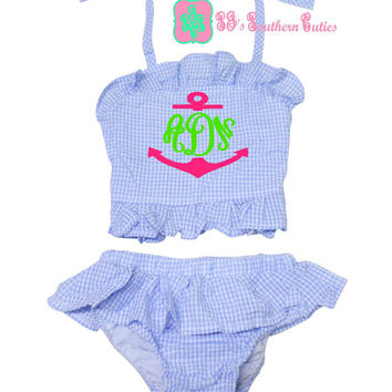 Monogrammed Gingham Girl 2 Piece Ruffle Bikini Swimsuit