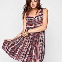 Mimi Chica Linear Boho Print Lace Up Dress Multi  In Sizes