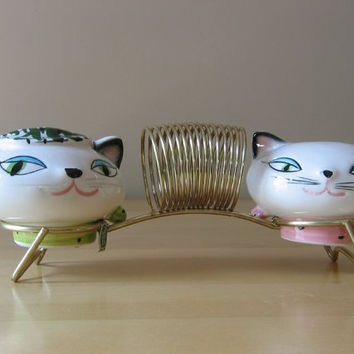 Vintage Mint 1958 Holt Howard Cozy Kittens S&P Shakers w/ Metal Napkin Holder - Made in Japan
