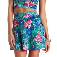 Tropical Floral Print Skater Skirt by Charlotte Russe - Blue Combo