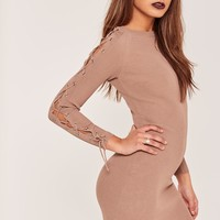 Missguided - Nude Lace Up Sleeve Mini Sweater Dress