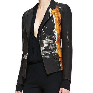 Metallic Printed Boyfriend Jacket, Size: