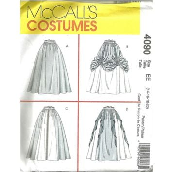 McCalls 4090 Sewing Pattern Renaissance Fair Medieval Costume Flared Skirt Floor Length Ruffle Drape Size Large XL Uncut
