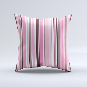 Pink and Brown Fashion Stripes ink-Fuzed Decorative Throw Pillow