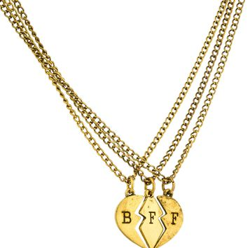 Antique Goldtone Three Best Friend Forever Broken Heart Pieces Pendant with an 18 Inch Adjustable Necklaces Day-First™