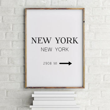 Fashion Art NYC Art Prada Marfa Sign Like in Gossip Girl Print Black and White Poster New York City Print Typography Art Print Gift for Her