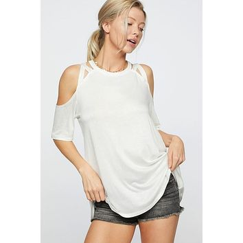 Strappy Cold Shoulder Top - Off White