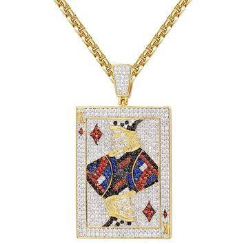 Iced Out Playing Cards King of Diamonds Pendant Chain