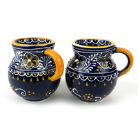 Handmade Pair of Beaker Cup Coffee Tea Mug  Blue Mexican Ceramic