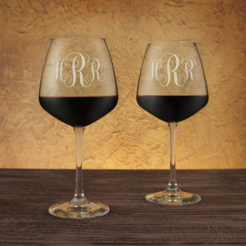 Bridesmaids Wine Glasses Engraved with Any Combination of Our Bridal Designs, Elements, & Fonts from our Selection (Each)