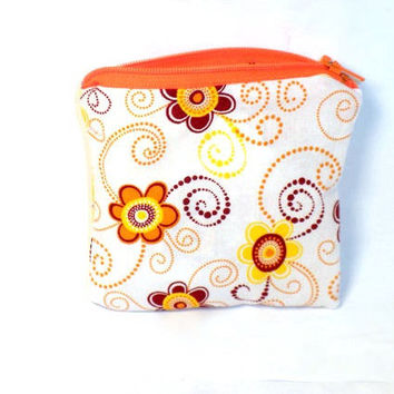 Change purse orange flower zipper pouch coin by redmorningstudios