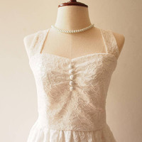 White Lace Dress Off White Vintage Dress Lace Wedding Dress Halter or Shoulder straps Marie Antoinette Dress Romantic Dress Victorian Dress
