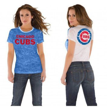 Chicago Cubs Ladies Superfan Sheer Burnout Premium T-shirt