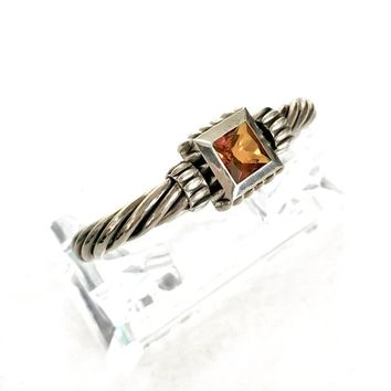 Sterling Silver Cable Hinged Bangle, Citrine Square Faceted Center Stone, Texture & Dimension, Hallmarked 925, Vintage Gift for Her