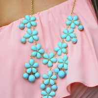 Dangling By A Flower Necklace: Aqua | Hope's