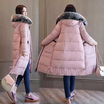 QIMAGE 2017 High Quality Winter Women Long Jacket Coat Big Fur Collar Cotton Padded Jacket Lady Winter Parka Thick Warm Outwear