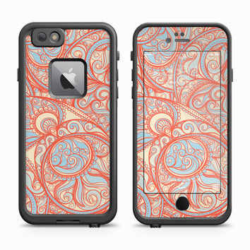 Orange and Sky Blue Paisley Pattern Skin for the Apple iPhone LifeProof Fre Case