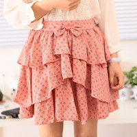 Spring Cute Front Ribbon Floral Pattern Chiffon Skirt