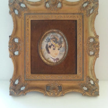Vintage Ornate Frame, Victorian Picture, Victorian-Style Wall Hanging, Mid Century 1950's Home Decor