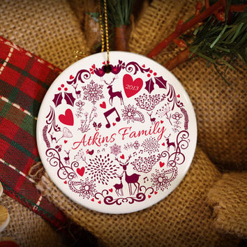 Customizable Christmas Ornament: Red Christmas Pattern