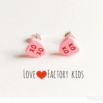 Cutie vintage sweetheart candy kiss hug xo xo conversational message Post earring Earring pink :) Happy Lovely Cute Kawaii Jewelry for Girl