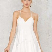 Spin Me Round Plunging Dress - White