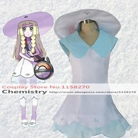 Pokemon Pocket Monsters Lillie Cosplay Dress with hat Costume