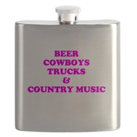 BEER COWBOYS TRUCKS COUNTRY MUSIC Flask