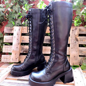 Black knee high combat boots size 6 / tall lace up boots / 90s chunky platform boots / grunge punk