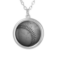 Distressed Baseball Necklace