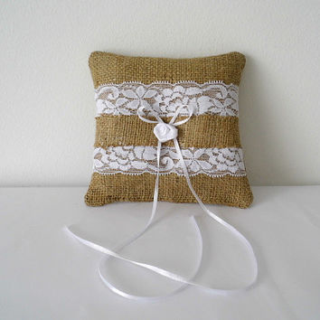 Romantic burlap and lace ring bearer pillow for rustic weddings