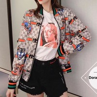 """""""Gucci"""" Woman Casual Fashion Letter  Personality  Printing Spell Color Stripe Long  Sleeve Shorts Tops  Coat"""
