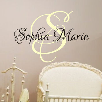 Baby Girl Nursery Wall Decal - Monogram Name Vinyl Lettering Childrens Wall Decal (Larger Size)