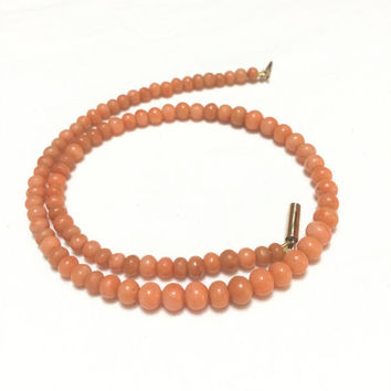 Victorian Coral Necklace, Coral Choker Necklace, 1800s, 10K Rose Gold, Fine Jewelry, Antique Jewelry