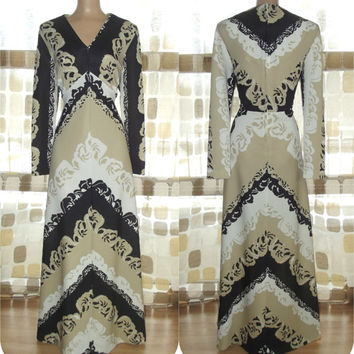 Vintage 70s AMAZING Op-Art Baroque Maxi Dress 18 XL 1X Psychedelic Hostess Gown Tan/Black/White