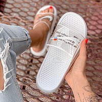 Nike men's and women's shoes transparent white letters fashionable comfortable beach sandals