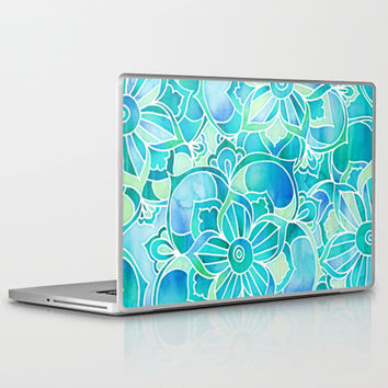 Aqua & Emerald - blue, turquoise & mint green floral design Laptop & iPad Skin by micklyn