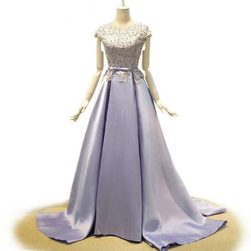 Women Dress Evening Long Elegant light Purple Prom Dresses Sexy Backless Bow Pearl Beading Lace and Satin Evening Dresses