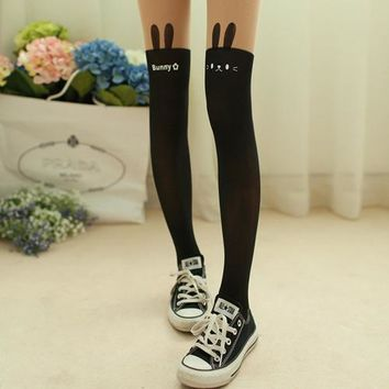 Collage Wind Devil Tatto Printed Nude Black Spliced Fake Knee High Stocking Tights Pantyhose  Retail/Wholesale  6DME