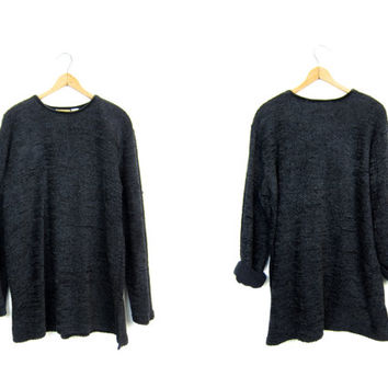 Slouchy Textured Black Sweater Woven Chenille Tunic Top Shirt 90s MINIMAL Black Long Sleeve Thin Sweater Shirt Vintage Womens Large